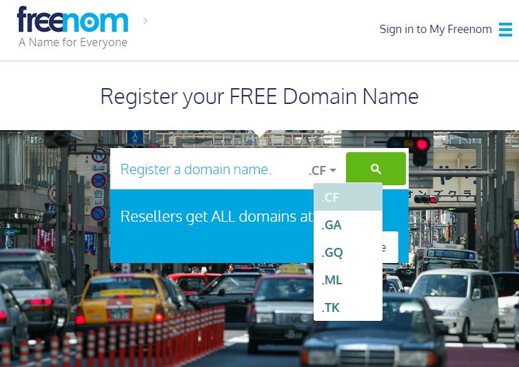 Freenom регистрация