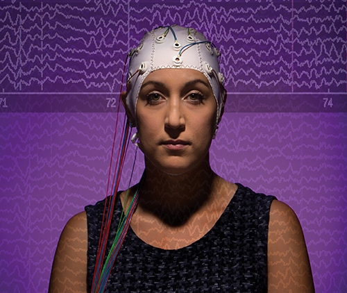 Photo illustration for a story published in Binghamton University Magazine about the research of Sarah Laszlo, assistant professor of Psychology, Monday, September 14, 2014.